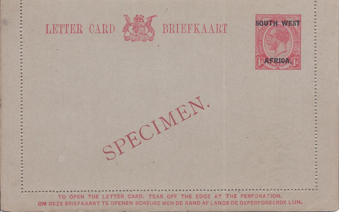 South West Africa 1923 1d. English overprinted postal stationery letter card bearing diagonal SPECIMEN overprint in red. Very fine condition.