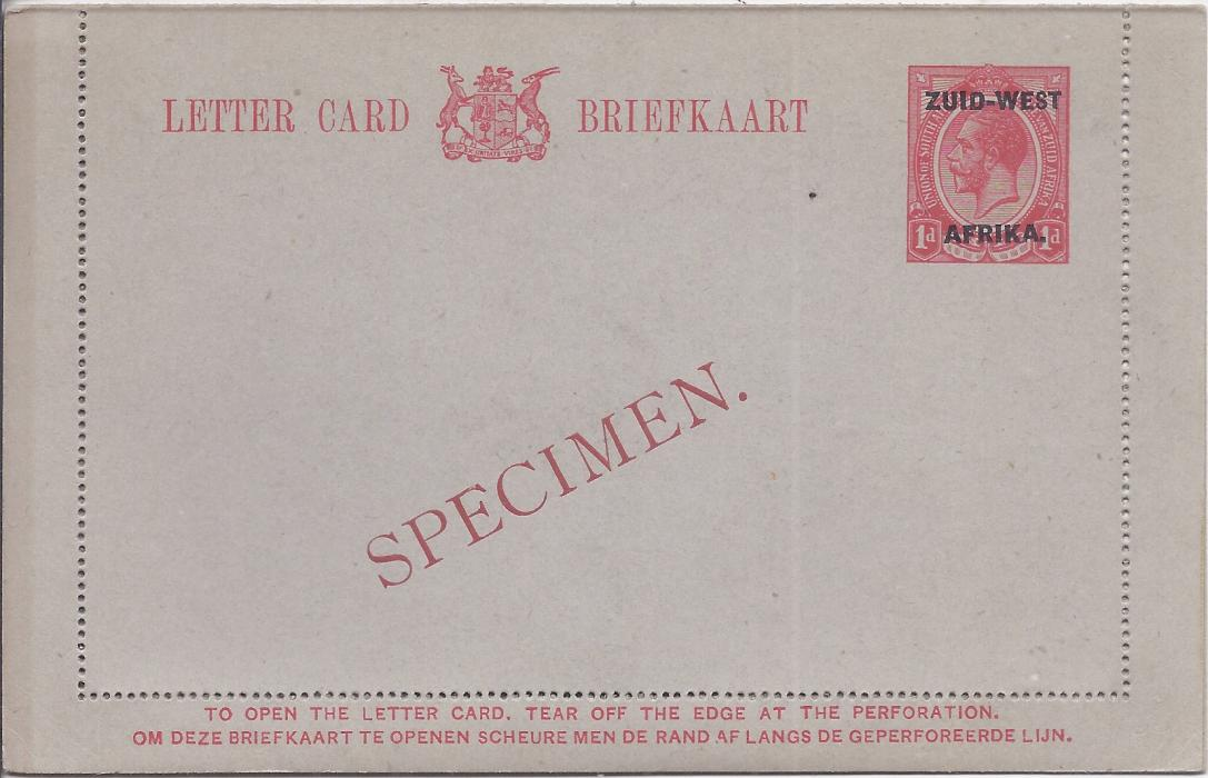 South West Africa 1923 1d. Afrikans overprinted postal stationery letter card bearing diagonal SPECIMEN overprint in red. Very fine condition.