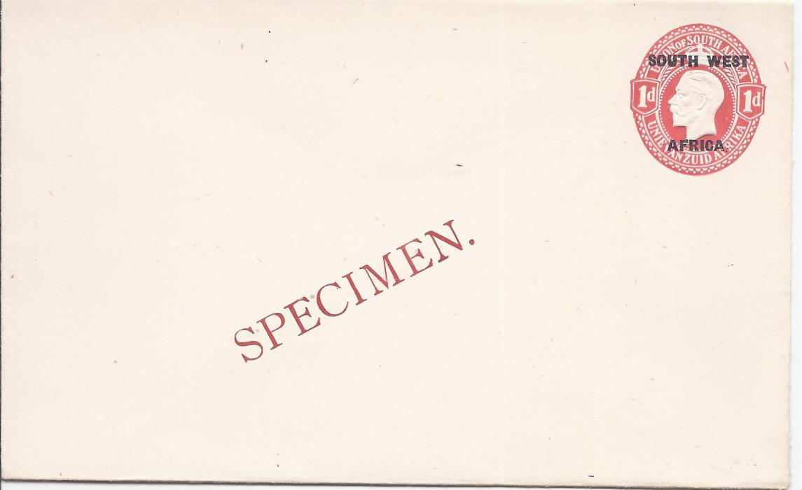 South West Africa 1923 1d. Afrikans overprinted postal stationery envelope bearing diagonal SPECIMEN overprint in red. Very fine condition.
