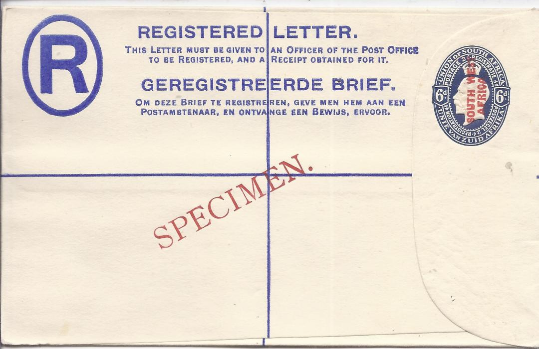 South West Africa 1923 6d. English overprinted postal stationery registration envelope bearing diagonal SPECIMEN overprint in red. Very fine condition.