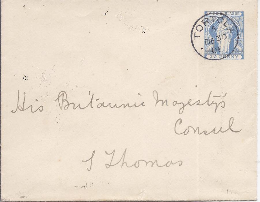 British Virgin Islands 1901 2 1/2d. Virgin stationery envelope to St Thomas, Danish West Indies with Tortola cds, arrival backstamp, without backstamp.