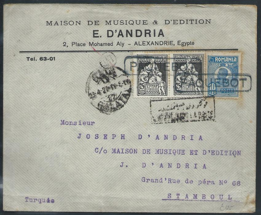 ROMANIA                                                                                                                                                                                       1927 Music shop advertising cover from Alexandria (Egypt) franked with Romanian stamps, posted to Constantinople. Stamps tied by boxed PAQUEBOT handstamp alongside GALATA arrival cds. Nice and attractive maritime mail cover