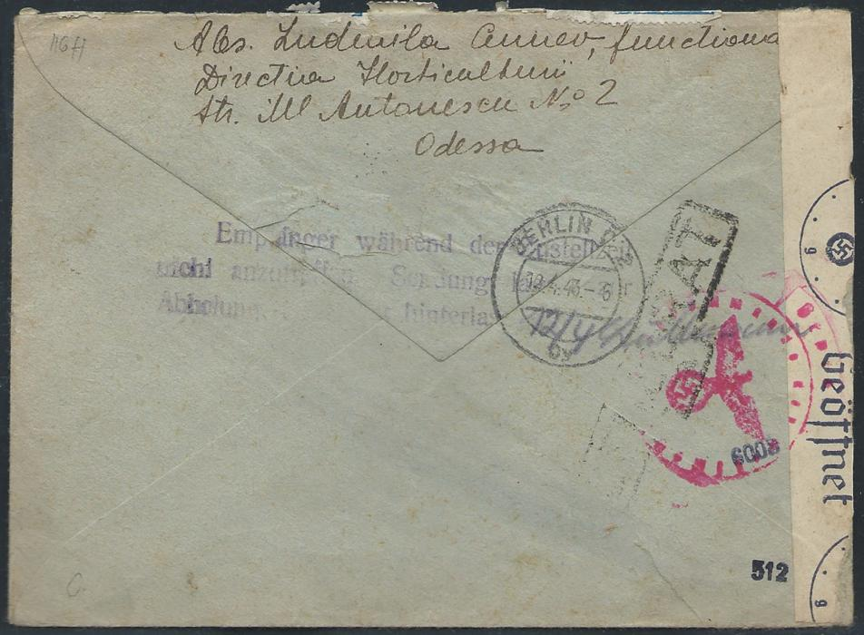 RUSSIA  � Romanian Occupation WWII                                                                                                                                                                                                                                                                                                   1943 Registered cover from Odessa to Berlin, franked with strip of four 24L (damaged at the top) Transnistria issue all tied by ODESA1*RECOMANDATA cds, provisional Odessa boxed registration handstamp alongside. Berlin arrival and censor mark & label applied on arrival.
