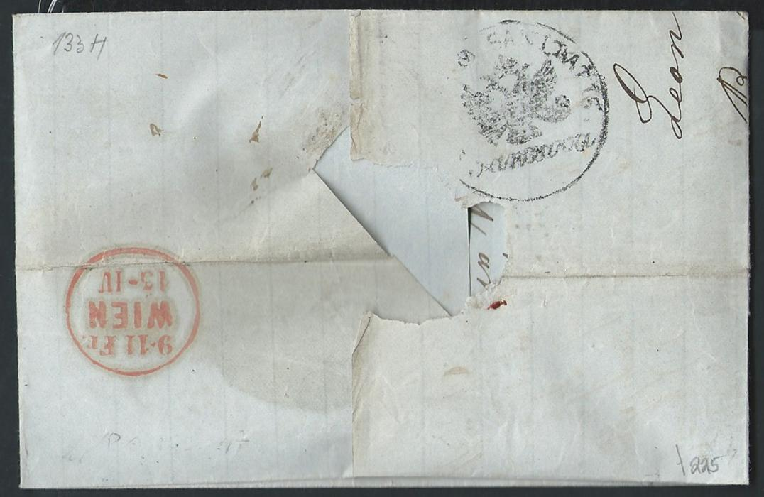 SERBIA – Austrian P.O. 1860 entire sent via Pancevo to Vienna, bearing Austrian Consular P.O. at Belgrade date handstamp. Reverse shows Pancevo quarantine station cachet where letter was treated. Arrival Vienna.