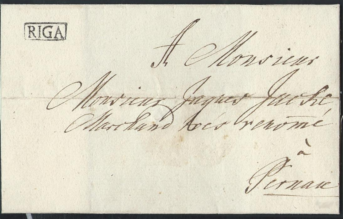 LATVIA 1777 outer letter sheet sent to Pernau-Estonia, bearing boxed RIGA handstamp which was in usage between 1767 to 1778