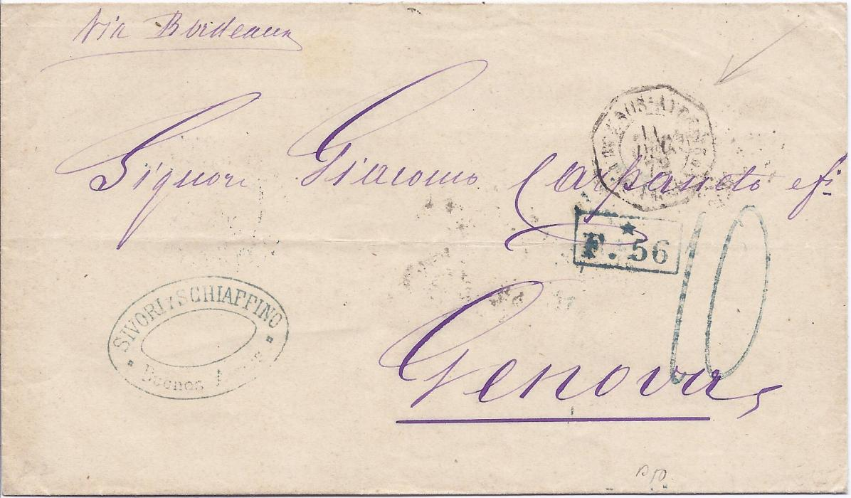 Argentina 1873 stampless outer letter sheet to Genova bearing Buenos Aires company handstamp, rate handstamp 10 and framed F.*56 acountancy, somewhat unclear French octagonal maritime Buenos Aires date stamp, reverse with Paris transit and upon arrival 1L. Postage due applied and tied cds; fine condition.
