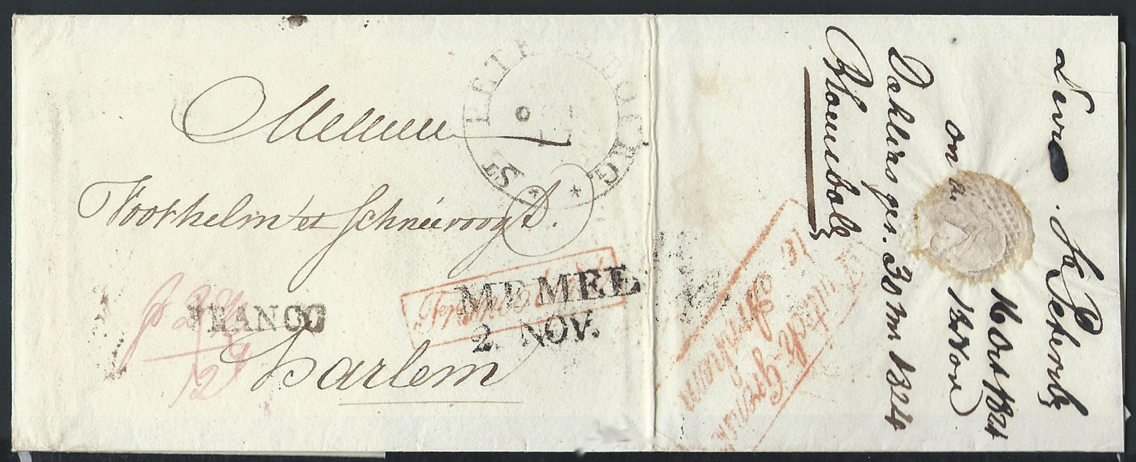 "RUSSIA  1824 Outer letter sheet posted to Harlem (Netherlands) stamped by large double circle  Latin script ""ST.PETERSSBOURG ** "" cds, alongside transit MEMEL and red boxed ""Franco Tout"" handstamp. Reverse shows border entry mark "" Duitsch – Grensk / te Arnhem"".  Charged 12 decimes in manuscript. Nice and attractive"
