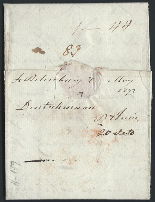 RUSSIA  1792 Entire to Hodimont (Belgium) showing �S.PETERSBOVRG� handstamp length 40mm (Dobin 0.01v)  - Exceptional quality