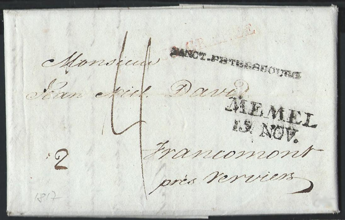 "RUSSIA  1817 Entire with additional letter inside sent to Belgium, bearing straight line Latin script ""SANCT.PETERSBOURG"" handstamp alongside MEMEL/15.NOV handstamp and light red FRANCO GRENZE handstamp.  Reverse shows boxed entry mark "" Duitsch-Grensk:/te Henri-Chapelle"""