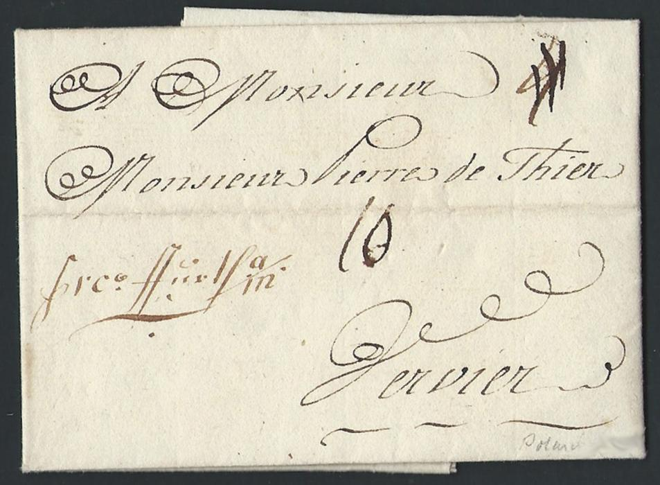 POLAND 1768 Entire sent from Warsaw to Verviers (Belgium) showing variety of manuscript rates, as well as a very scarce �Franz Martens / Lepizig� forwarding agent�s mark