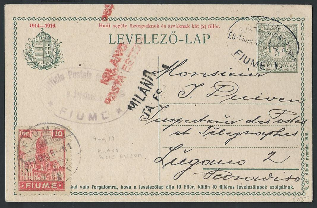 ITALY - FIUME  1919 Hungarian stationery card bearing 10c der FIUME issue sent to Lugano, bearing cancellations of Fiume both Hungarian type and Italian oval censor mark. Milano transits