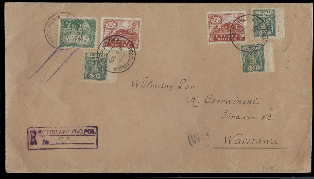 POLAND - Levant 1920 Large size registered cover sent from Constantinople top Warsaw, franked with 3x50f+1,50M+2x2,50M Issues for Southern Poland (Austrian Currency) all tied by Polish P.O. at Constantinople cds, alongside boxed registration cachet �KONSTANTYNOPOL�, arrival Warsaw on reverse.
