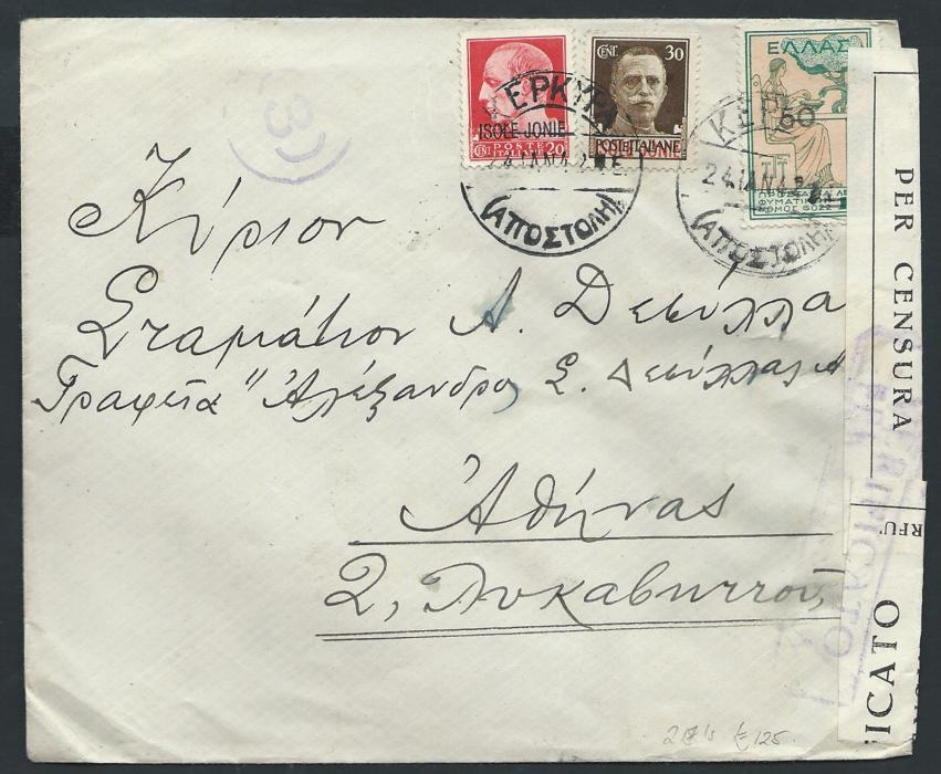 ITALY � WWII Ionian Islands 1942 two censored cover sent from Corfu to Athens both franked with Italian Occupation for Ionian Islands stamps in combination with Greek 1934 Charity stamps. Censor cachets and labels.