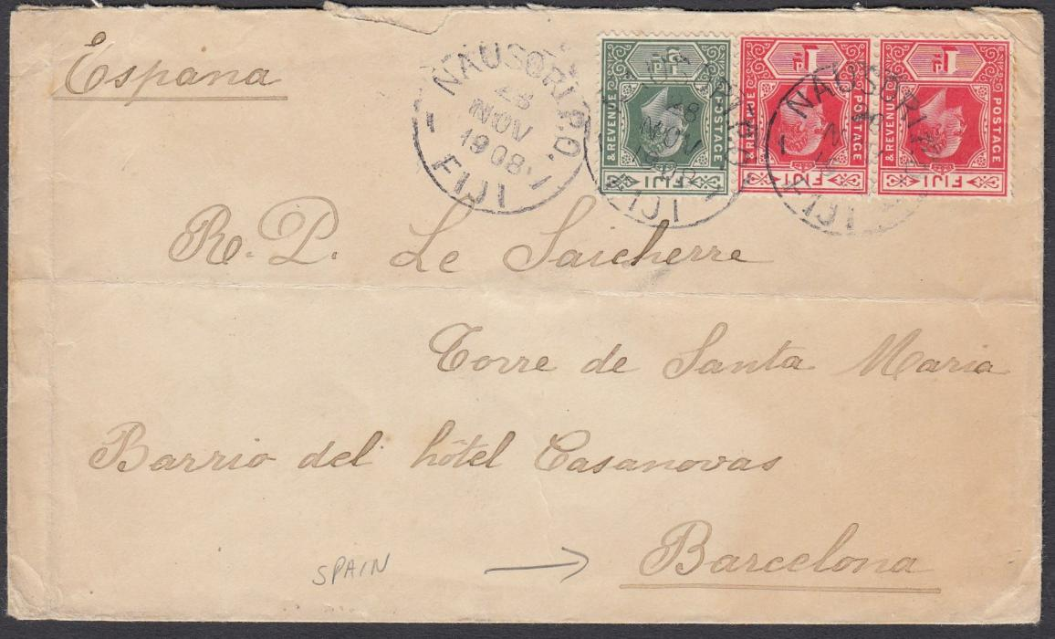 FIJI 1908 cover to Barcelona, Spain, franked �d and 1d (2) tied Nausori P.O. cds, reverse with Suva transit and arrival cds; scarce commercial item.