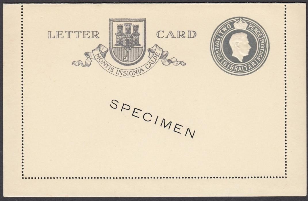GIBRALTAR (Picture Stationery) 1938 King George VI 2d postal stationery letter card with fine illustration on reverse, diagonally overprinted SPECIMEN; very fine unused.