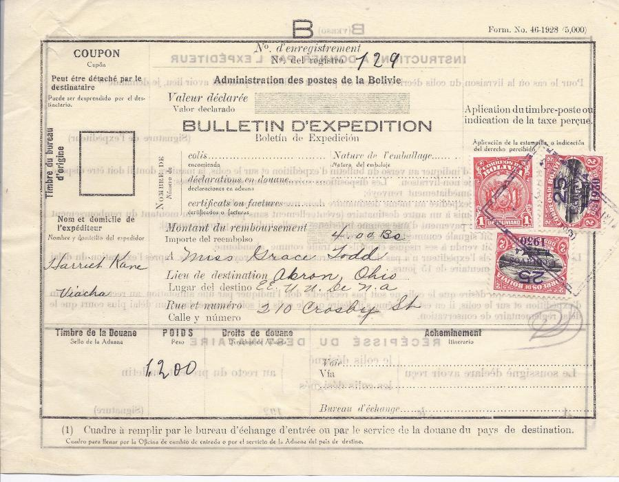 Bolivia 1930 Parcel form to Akron, Ohio, USA, franked 25 Centavos/ 1930 on 2c. (2) and a 1b. tied by boxed cachet of Viacha.
