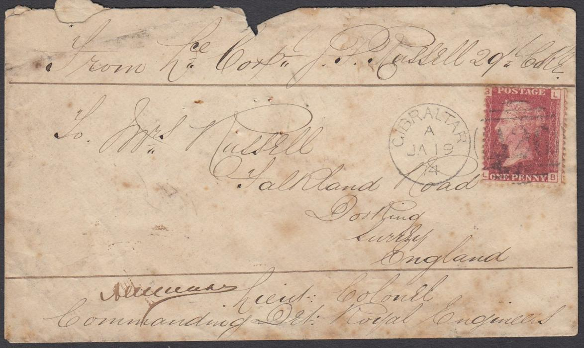 GIBRALTAR (Soldiers Letter) 1874 (JA 19) cover to England franked Great Britain 1d red, LB, pl.167, tied A26 duplex with senders details at top and, at bottom, signature and details of Royal Engineers Officer, Dorking arrival backstamp; some slight faults and staining.