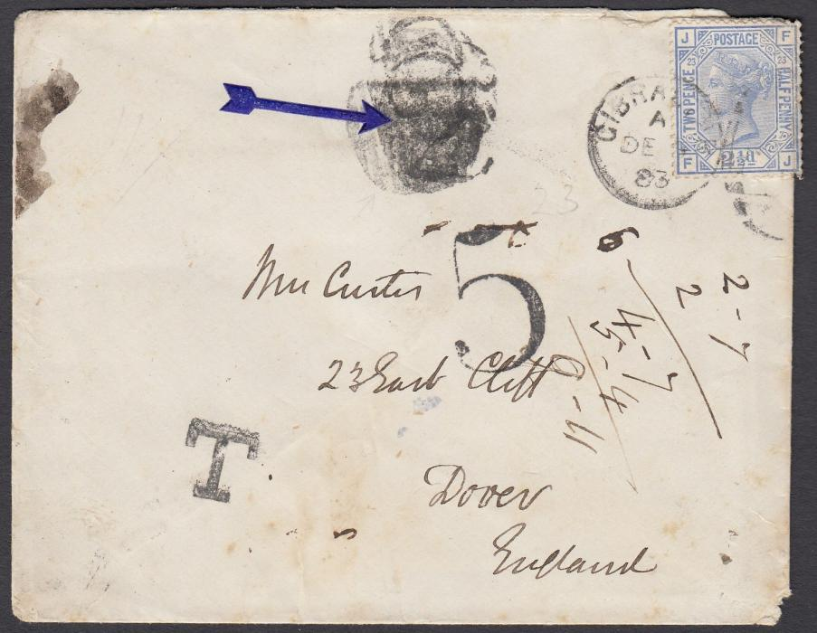 GIBRALTAR 1883 cover to Dover bearing single franking GB 2�d, FJ, pl.23, tied duplex. A heavier double rate cover so T applied and a type 2 ship 2 applied in error, this being over-struck with a barred oval. The 5 handstamp was applied in Dover; some slight toning and stamp perfs damaged as overlapping envelope.