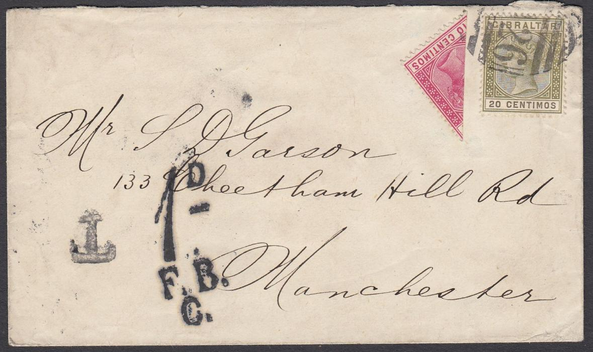 GIBRALTAR 1897 cover to Manchester franked 20c and bisected 10c, tied by A26 obliterator, the bisect being unauthorised a T handstamp was applied and upon arrival in England a 1d/F.B./C/ handstamp charge raised, reverse with London and Manchester cds.