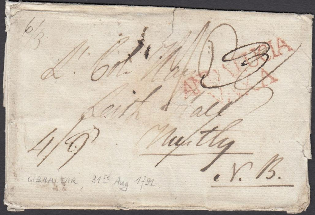 "GIBRALTAR 1791 outer letter sheet to Murtley, Scotland, sent overland and bearing red two-line ANDALUCIA/VAXA transit, rated ""4/9d"" on arrival, arrival backstamps; some slight faults but rare item."