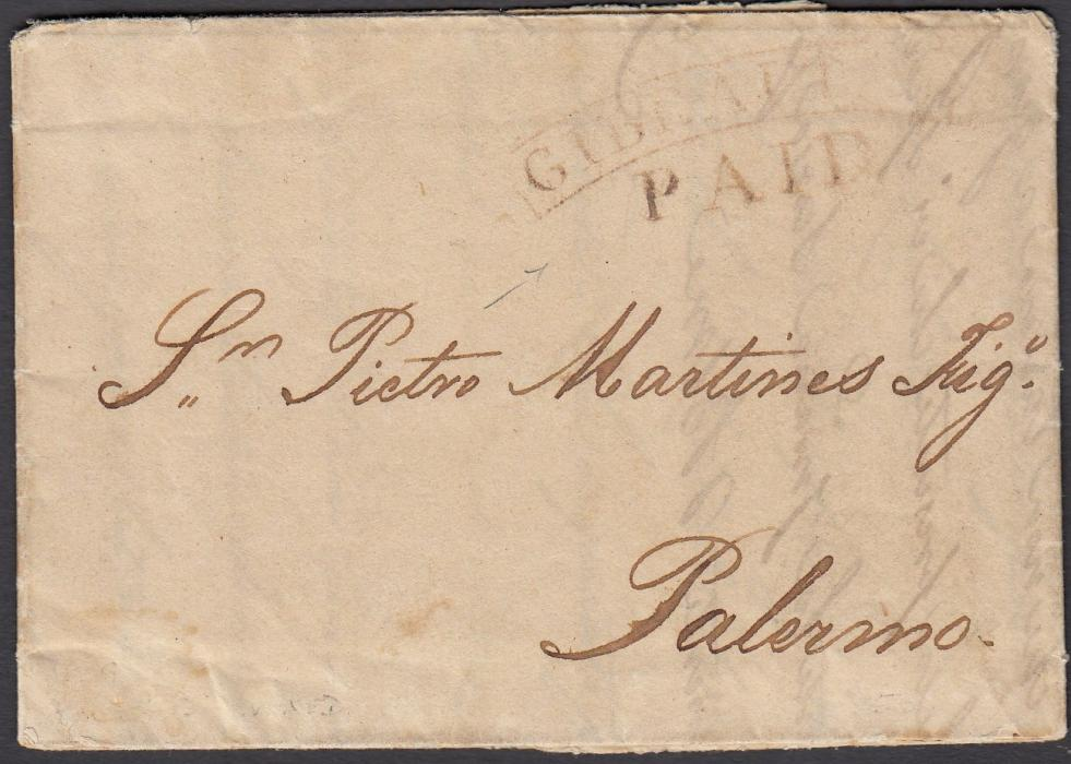 GIBRALTAR 1809 Packet Agency entire to Palermo, Italy, bearing red cursive GIBRALTAR/PAID handstamp; a very early use in red.