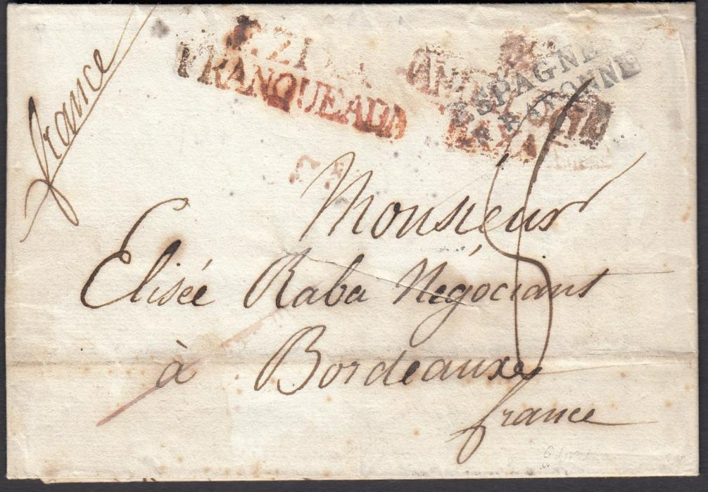 GIBRALTAR: (Disinfected Mail) 1821 entire to Bordeaux bearing EZIXA/FRANQUEADA handstamp and ANDALUCIA/VAXA handstamp, which is overstruck by ESPAGNE/PAR BAYONNE handstamp, disinfected with single diagonal slit. During cholera epidemic of 1819/21 the San Roque post remained closed and mail was diverted through Ecija.
