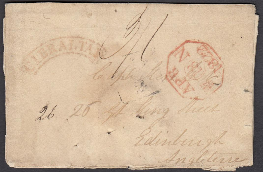 GIBRALTAR 1822 entire to Edinburgh bearing cursive GIBRALTAR handstamp, manuscript rate marking, red octagonal arrival and faint framed ½d local delivery handstamp; the entire now stuck together.