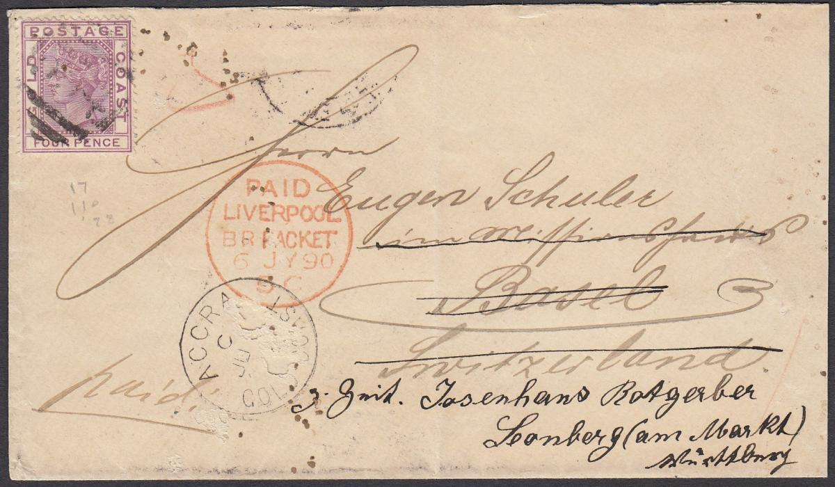 GOLD COAST 1890 cover to Switzerland, franked 4d tied unclear numeral handstamp, ACCRA date stamp in association, PAID/LIVERPOOL/BR PACKET transit, reverse with arrival cancels; small surface faults in Accra cancel otherwise good condition.