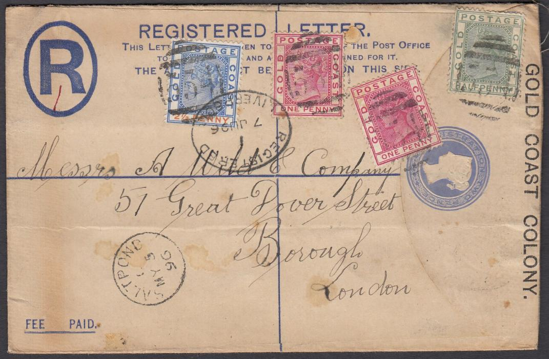 GOLD COAST 1896 (MY 5) Registered 2d postal stationery envelope, up-rated �d, 1d (2) and 2�d cancelled 554 obliterator with SALTPOND cds in association, to London with Liverpool transit on front.