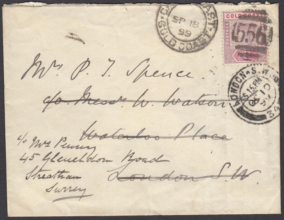 GOLD COAST (Forwarding Agents) 1899 (SP 18) cover to London bearing single franking 1d tied 556 CAPE COAST duplex, forwarded on arrival with forwarders handstamp on reverse.
