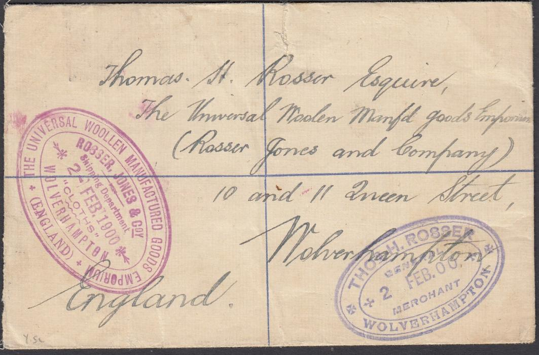 GOLD COAST 1900 2d registered postal stationery envelope up-rated pair �d, the stamps cancelled by unclear framed handstamps (Proud type KD4). Accra cds at left, Liverpool transit date stamp tying printed stamp image and Wolverhampton cancel below this, reverse with two different company handstamps for woollen manufacturer.