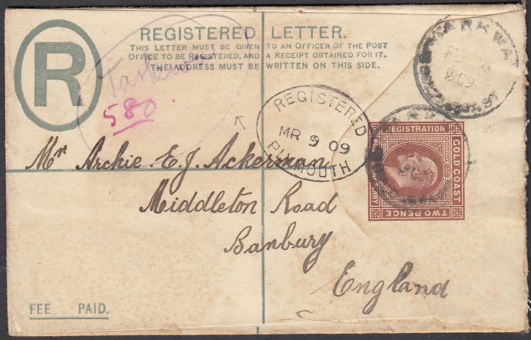 GOLD COAST 1909 3d registered postal stationery envelope to England cancelled TARKWA cds, manuscript registration at left, Plymouth transit at centre, Banbury arrival backstamp.