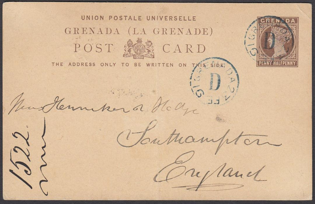 GRENADA 1891 PENNY HALFPENNY postal stationery card to England, cancelled fine blue GRENADA/23 FE 91/D date stamp with another equally clear strike alongside, reverse with GRENADA/91 FE 23 date stamp; light central vertical filing crease.