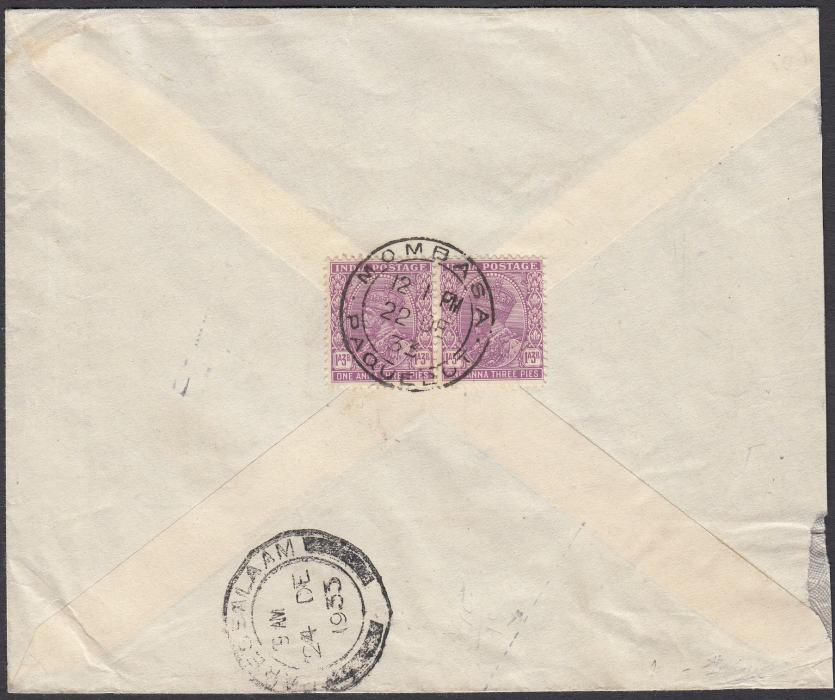 BRITISH EAST AFRICA 1933 commercial cover from Bombay, India, franked on reverse pair 1a.3p tied MOMBASA/PAQUEBOT cds with arrival cds below.