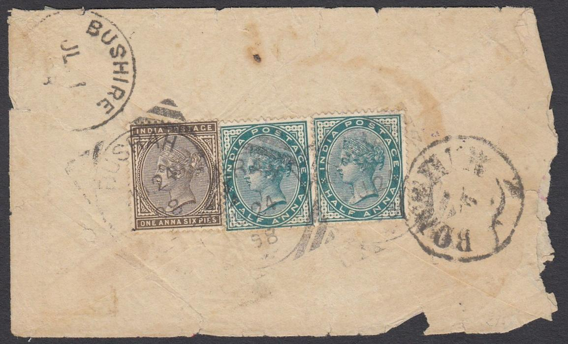 INDIA (Used Abroad) 1880s cover to Shiraz, Iran franked on reverse �a (2) and 1a.6p tied square circle BUSRAH date stamps, BUSHIRE and BOUCHIR transits of Indian and Persian Offices; some faults to envelope.