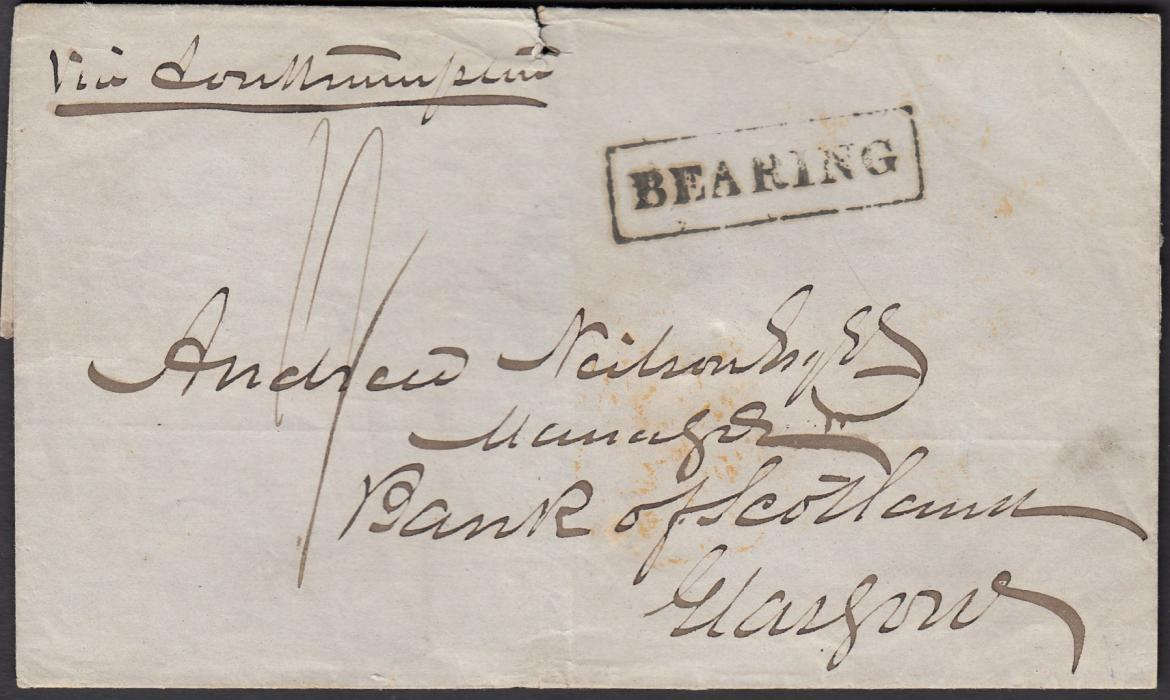 "MALAYA 1853 outer letter sheet to Glasgow, endorsed ""Via Southampton"", bearing rate marking and framed BEARING handstamp, reverse with arrival backstamps. There is no indication of despatch."