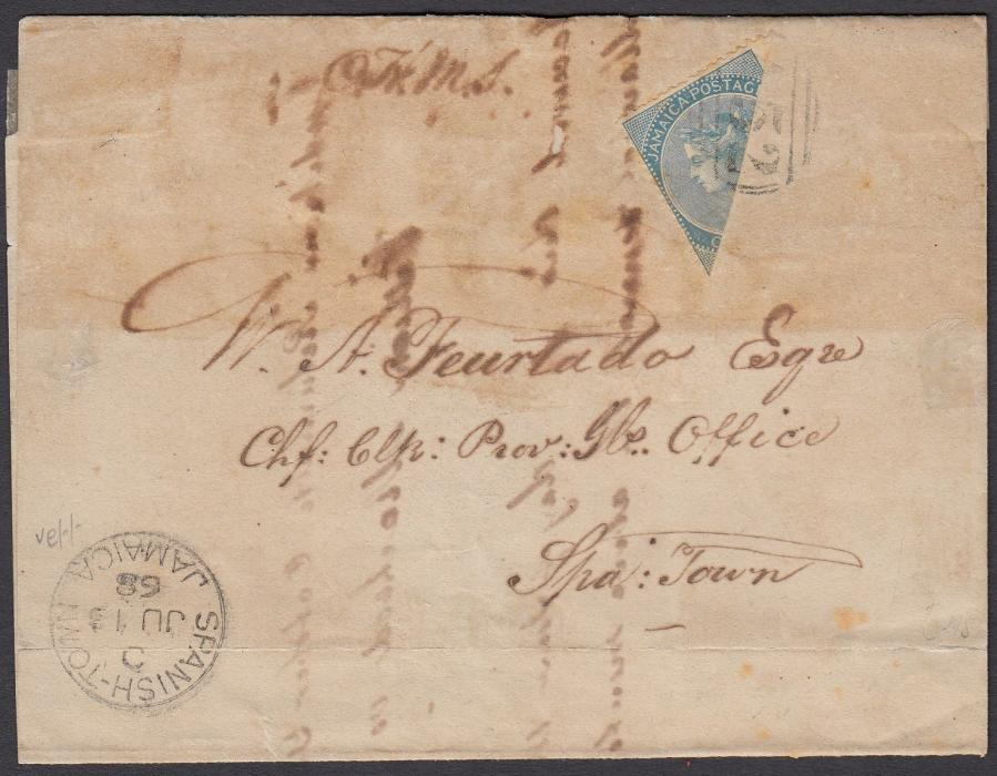 JAMAICA 1868 large part re-folded OHMS entire franked by diagonally bisected 1d pale blue tied A52 obliterator with MANDEVILLE/JAMAICA despatch cds on reverse and SPANISH TOWN/JAMAICA arrival cds on front; scarce first issue bisect.