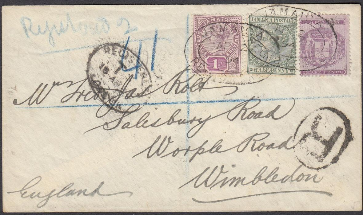 JAMAICA (Postal Fiscal) 1894 (AP 2) registered cover to Wimbledon franked 3d together with postage �d and 1d tied oval date stamps, LONDON arrival to left.
