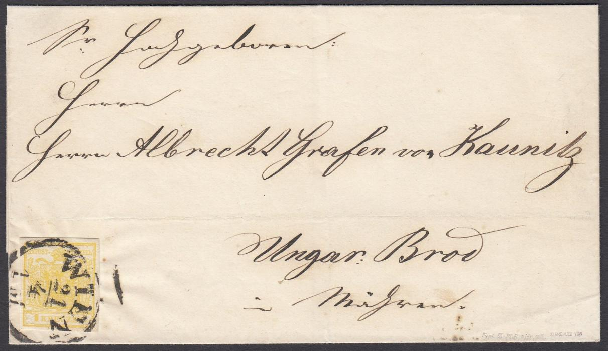 AUSTRIA 1850s outer letter sheet to Brod franked 1k citron yellow, type III, four good margins, tied WIEN cds, arrival backstamp. Fine and clean condition, with certificate.