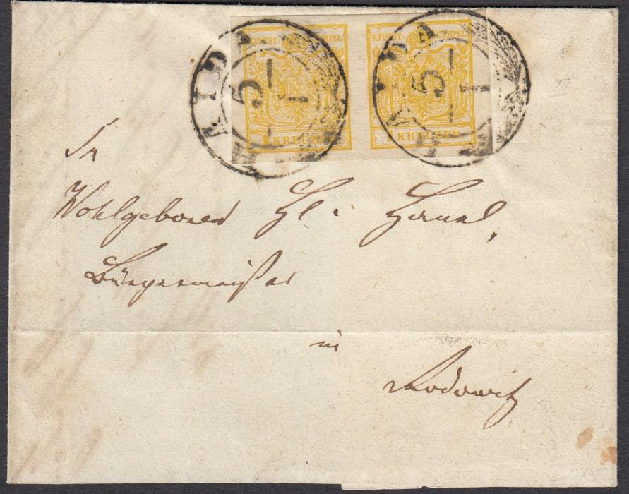 AUSTRIA (Bohemia) 1854 part entire franked handmade paper 1Kr cadmium-yellow horizontal pair with large even margins tied two strikes of HAIDA cds; G. Babor certificate (2002).