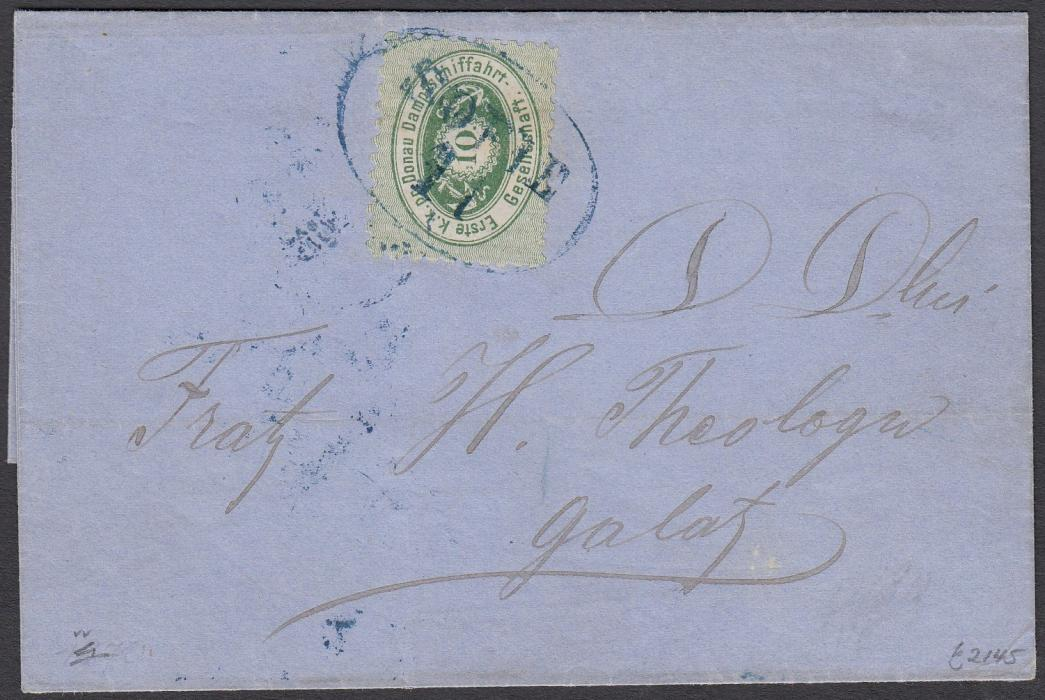 AUSTRIA  (Romania) 1870 outer letter sheet from Gurgevo to Galatz franked with Danube River Company 10kr. (type I) tied by blue oval ship handstamp SOFIE II , Tchill type 302; a fine example of this rare cancel, Ex. Jerger. Gurgevo was the Romanian city opposite Bulgarian Ruse on the Danube.
